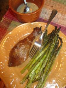 Roasted garlic marinade on asparagus