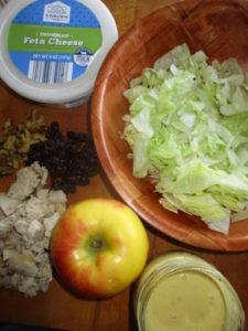 ingredients for apple raisin salad with chicken with creamy maple mustard chicken
