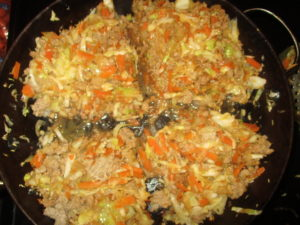 Egg Roll in a Bowl divided into 4 servings