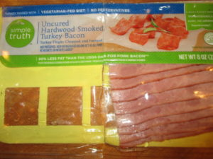 Turkey bacon for potato-green bean salad