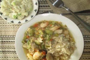cajun gumbo with potato salad