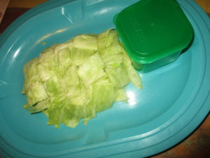 1/4 head of lettuce and green container filling hack