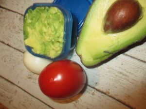 avocado and blue container filling hack