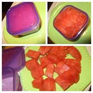 watermelon and purple container