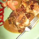 Chicken in a creamy sauce with sun-dried tomatoes and garlic