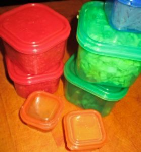 colored containers of ingredients