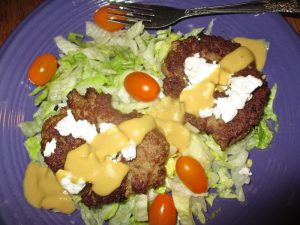 turkey burger with goat cheese and mustard sauce