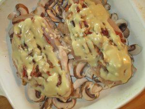Honey mustard sauce poured over Copycat Alice Springs Chicken