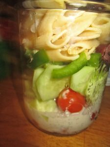 Greek pasta salad in a jar