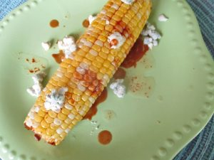 blue cheese and hot sauce corn
