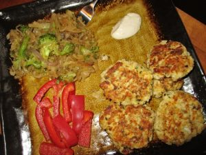 Fried fish cake supper plate
