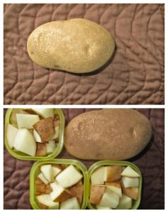 3 yellows containers of potatoes and the 21 Day Fix