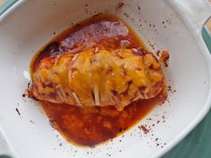 Cooked hasselback chicken