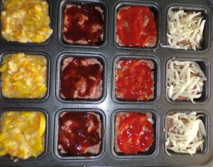 Filled muffin tin for meatloaf muffins