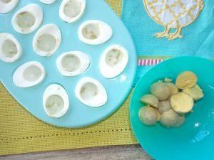 boiled eggs cut in half yolks removed