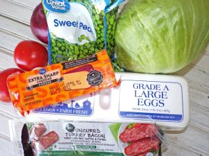 Ingredients for classic 7 layer salad
