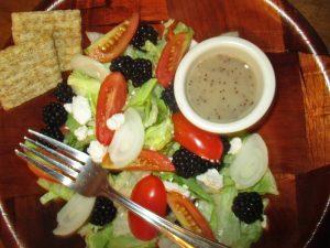 Blackberries in salad