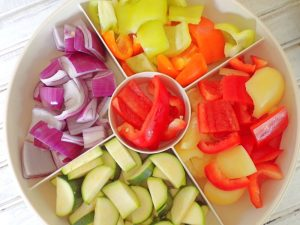 Veggies prepped for Sheet pan Sweet and sour chicken