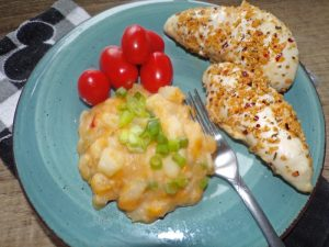 cheesy hash brown casserole plated